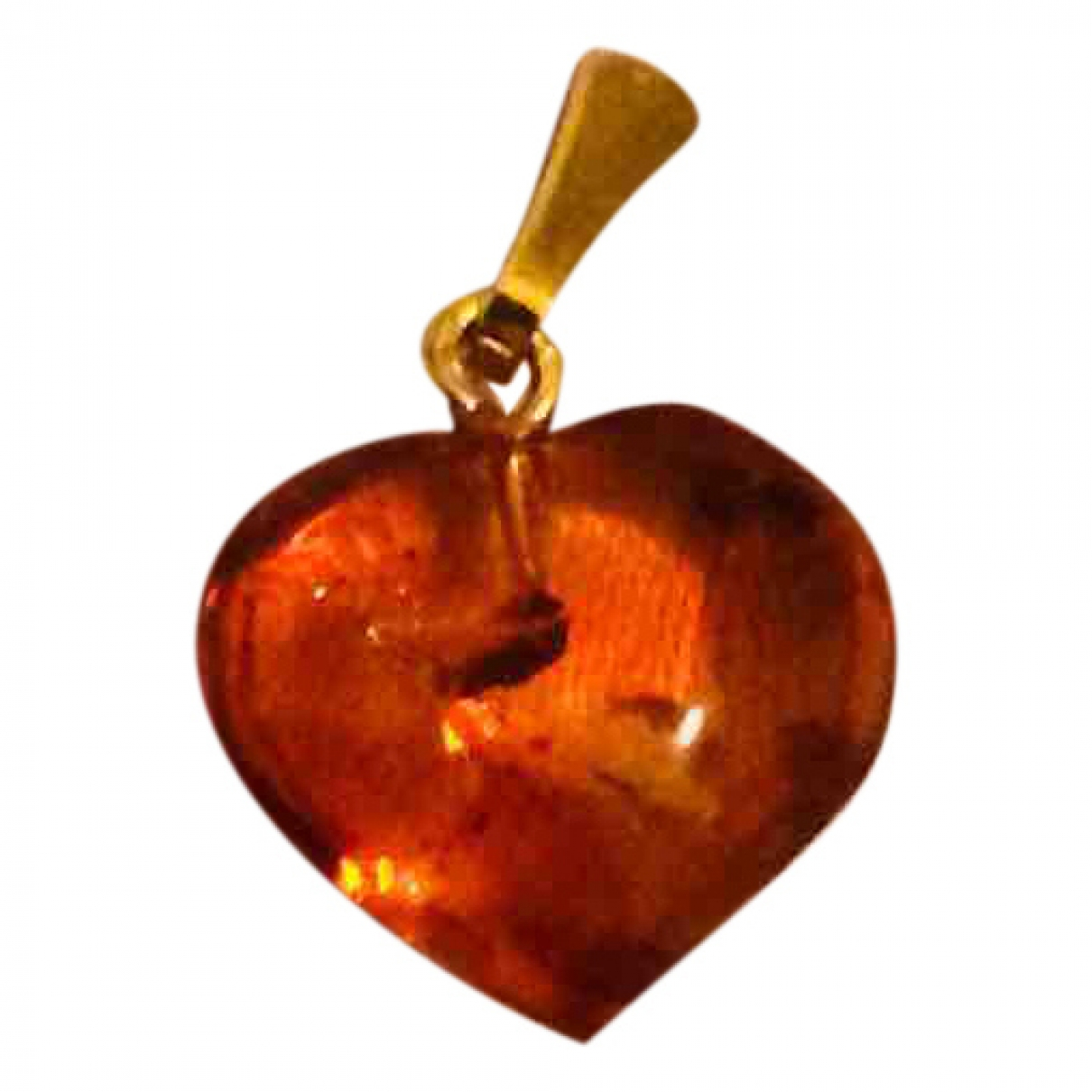 Non Signe / Unsigned Motifs Coeurs Anhaenger in  Orange Gelbgold