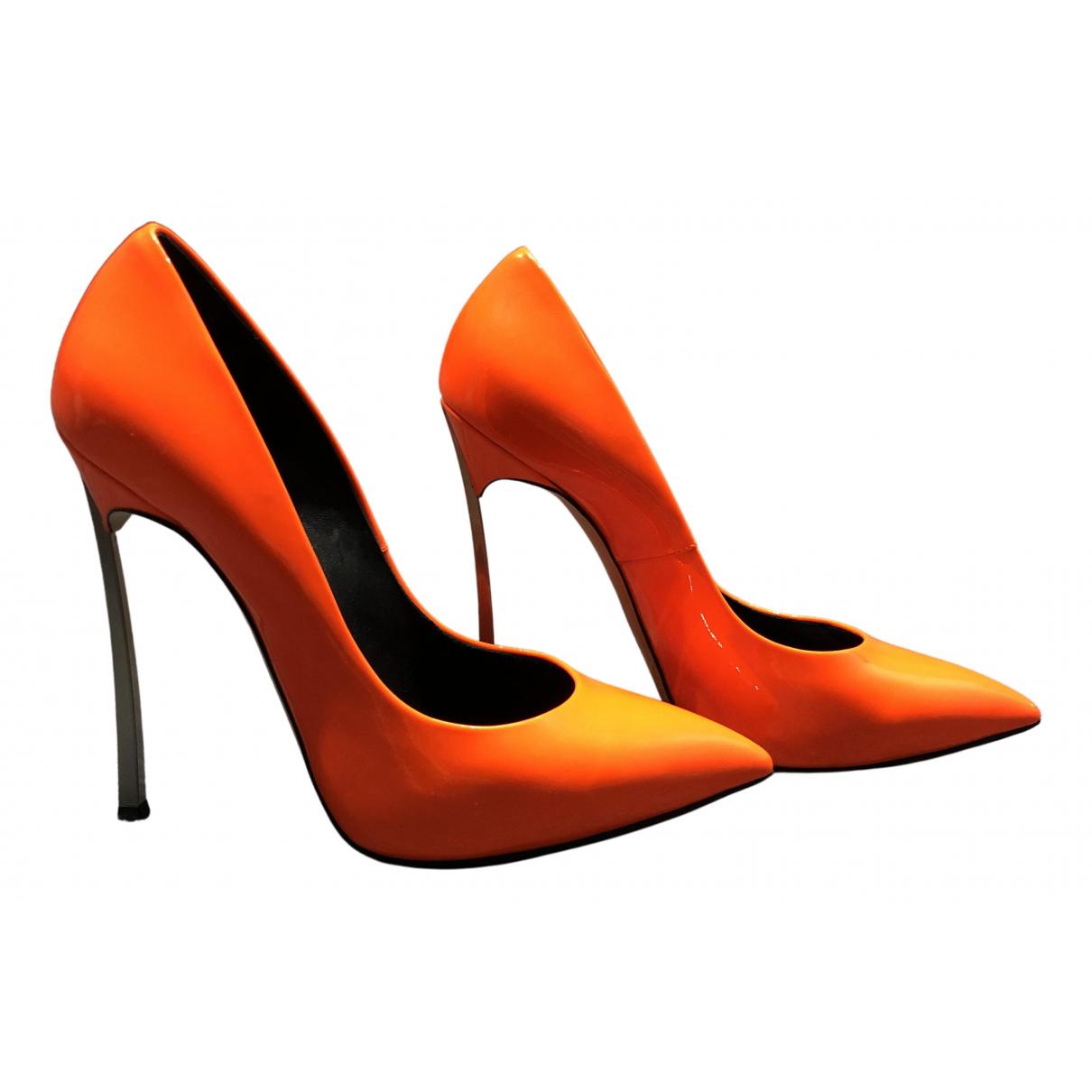 Casadei N Orange Leather Heels for Women 37 EU