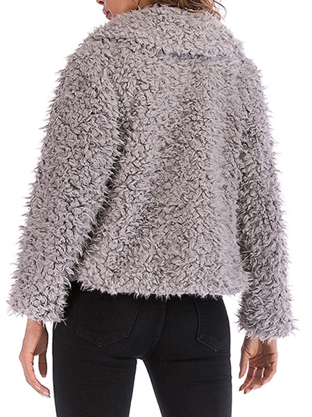 Milanoo Faux Fur Coats Grey Turndown Collar Long Sleeves Winter Coat With Pockets