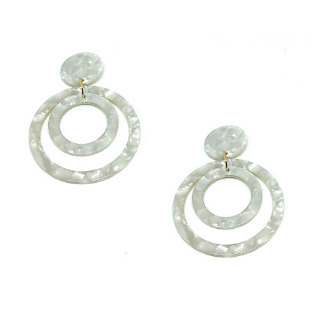 Bijoux Bar Resin Circle Drop Earrings, One Size , White