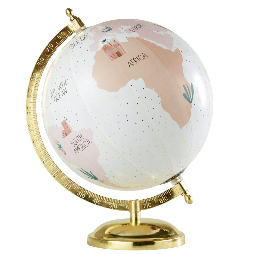 Globus aus Metall, rosa und goldfarben