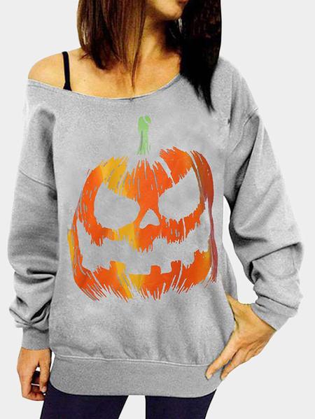 Yoins Grey Pumpkin Print Pattern One Shoulder Long Sleeves Sweatshirt