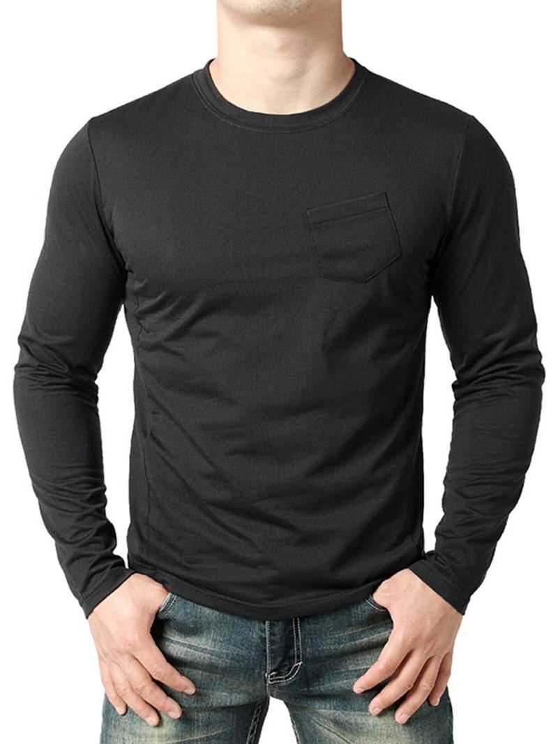 Ericdress Plain Pocket Round Neck Loose Mens T-shirt