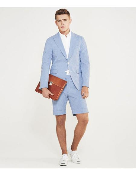 Shorts Set Pants Light Blue Summer Suit