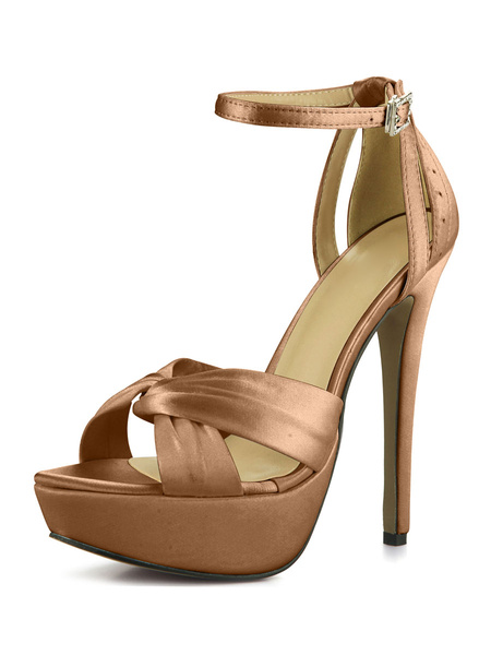 Milanoo Ivory wedding Shoes Platform Open Toe Knotted Ankle Strap High Heel Sandals