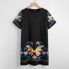 Plus Butterfly and Tribal Print Tee Dress