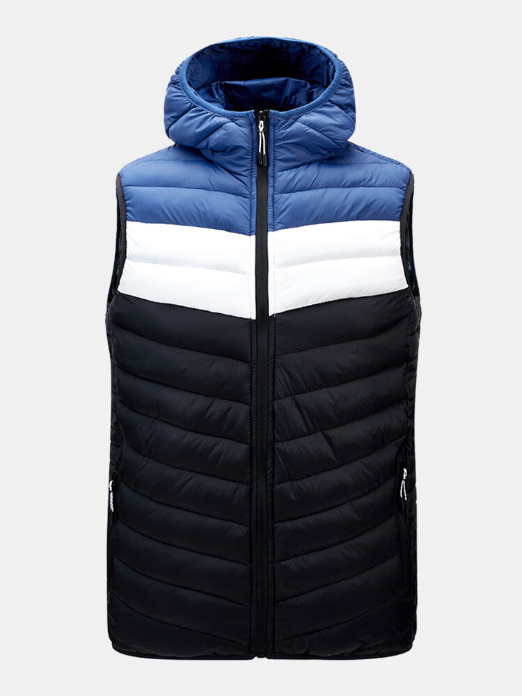 Mens Thick PatchworkZip Up Drawstring Hooded Padded Gilet Vest
