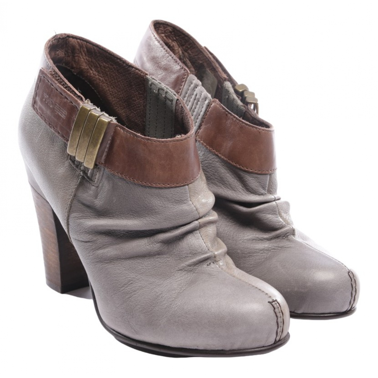 Tommy Hilfiger \N Grey Leather Ankle boots for Women 39 EU