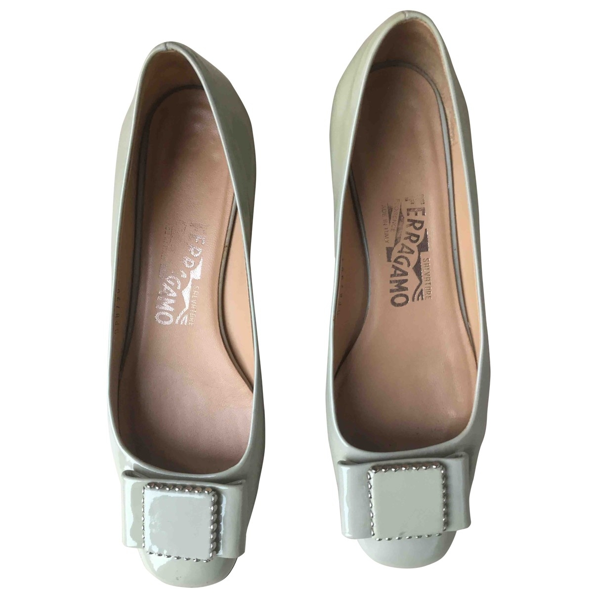 Salvatore Ferragamo \N Turquoise Patent leather Ballet flats for Women 6 US
