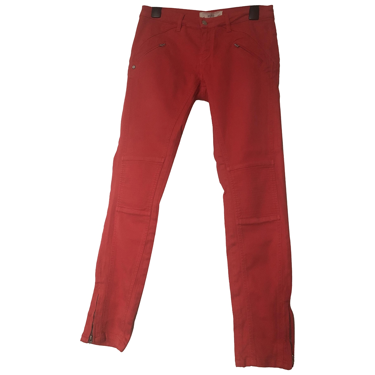 Vanessa Bruno Athe \N Red Cotton - elasthane Jeans for Women 38 FR