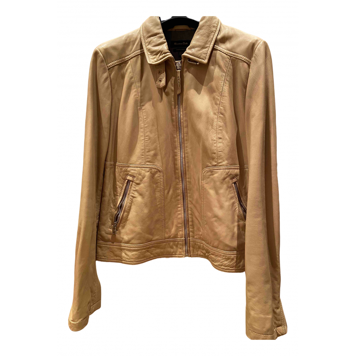Massimo Dutti \N Beige Shearling Leather jacket for Women 38 FR