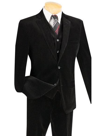 Mens Black 2Buttons Pinstripe corduroy 2piece vested suits Flat Pants