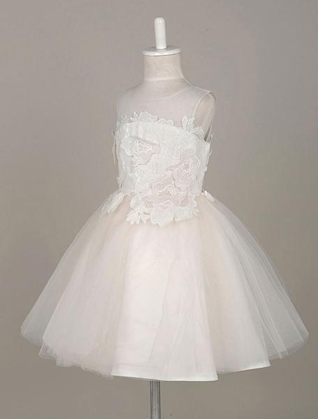 Milanoo Vestido para las niñas de flores de marfil Escote transparente de encaje sin mangas
