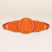 Round Buckle Elastic Wide Belt
