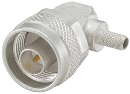 Rosenberger Right Angle 50Ω Cable Mount Coaxial Connector, Plug, Crimp, Solder Termination, Flexible