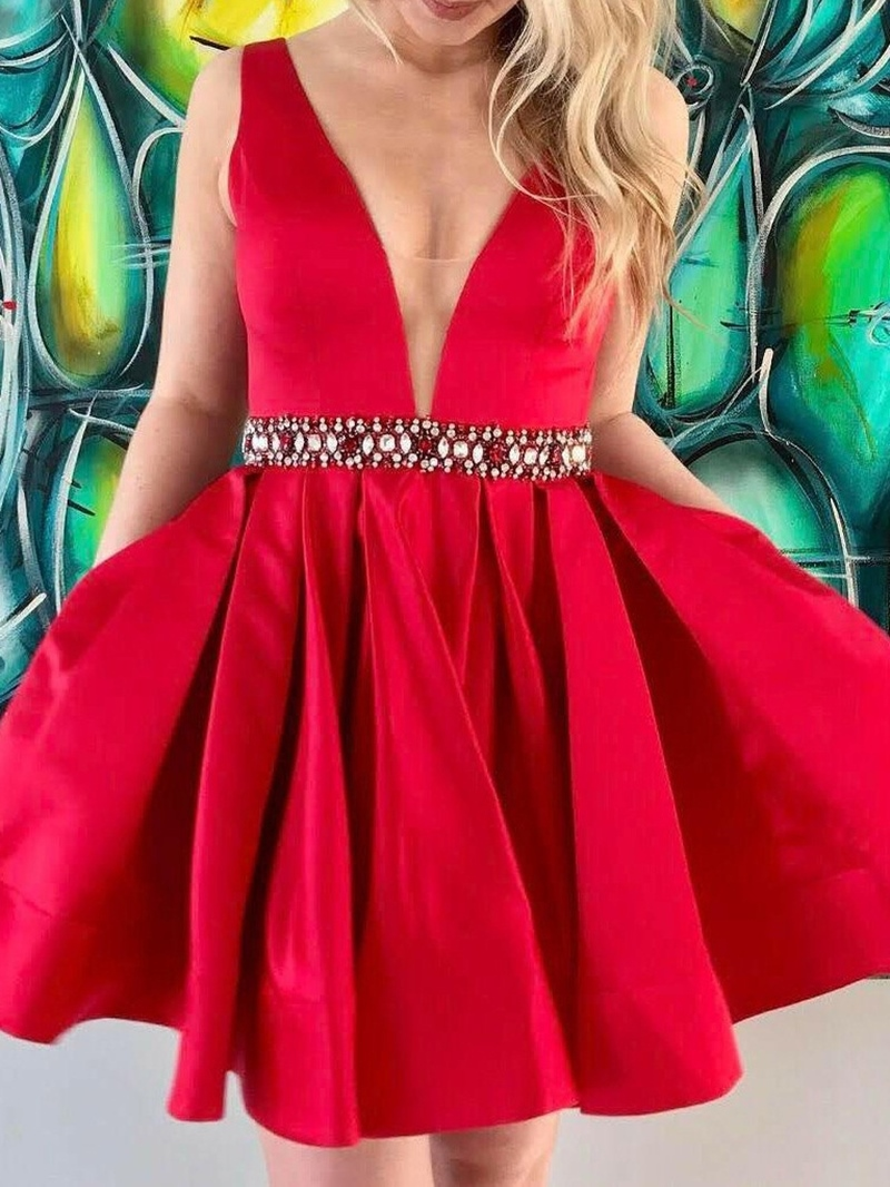 Ericdress Mini Beading A-Line V-Neck Homecoming Dress