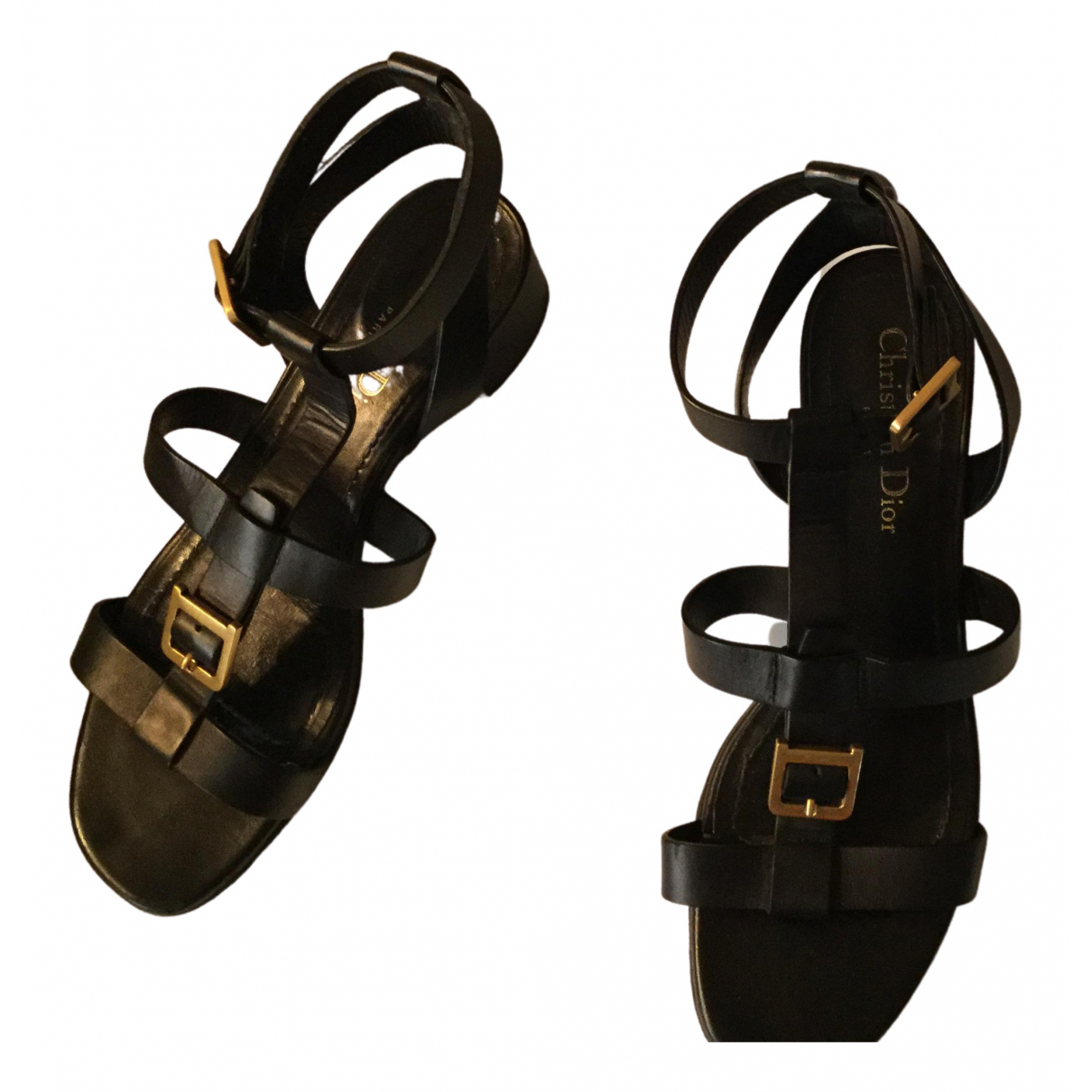 Dior \N Black Leather Sandals for Women 38 EU