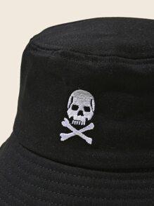 Skull Embroidery Bucket Hat