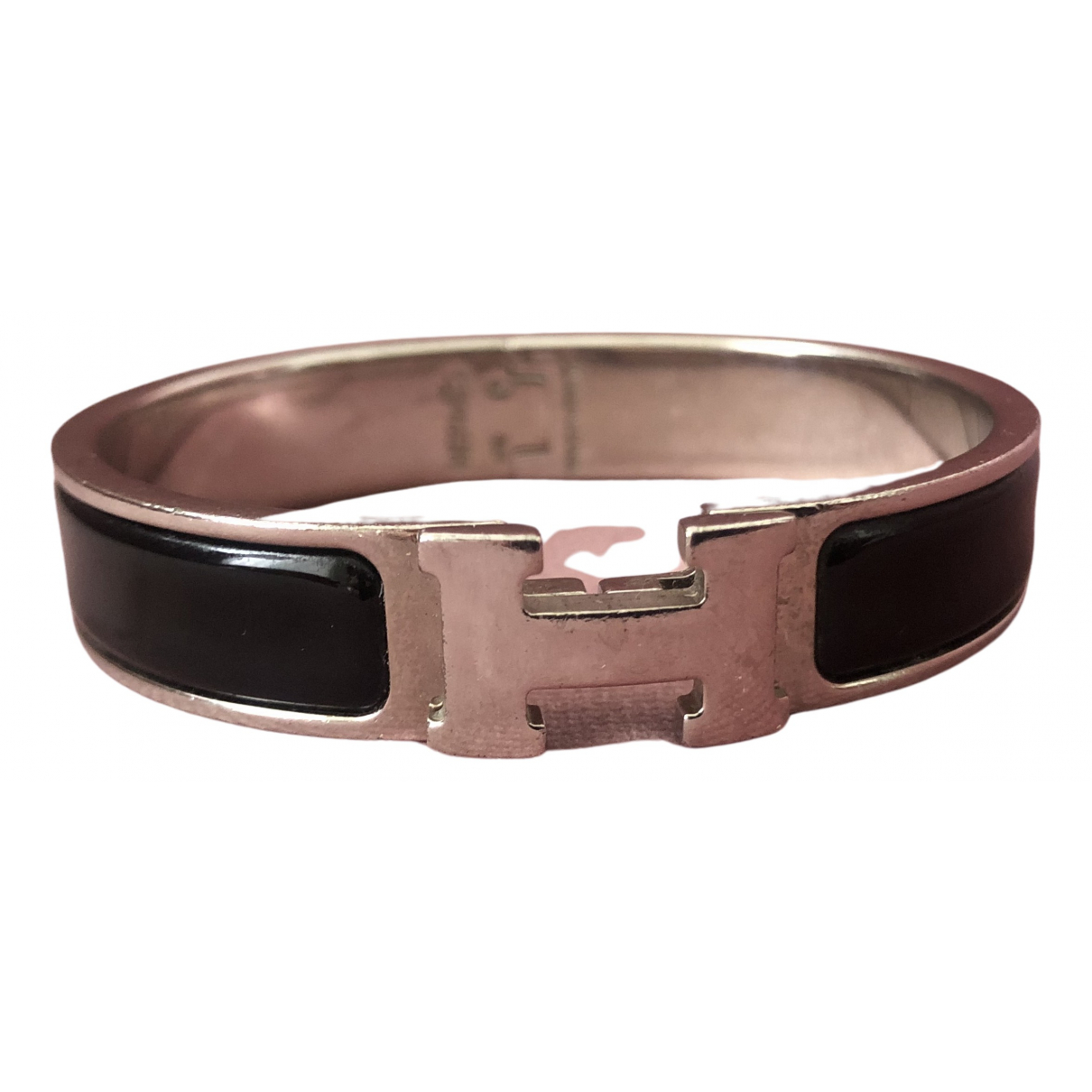 Hermes Clic H Armband in  Schwarz Stahl