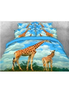 Giraffe Mother and Calf Printed 3D 4-Piece Bedding Sets/Duvet Covers