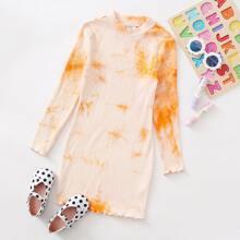 Strick Kleid mit gekraeuseltem Saum und Batik