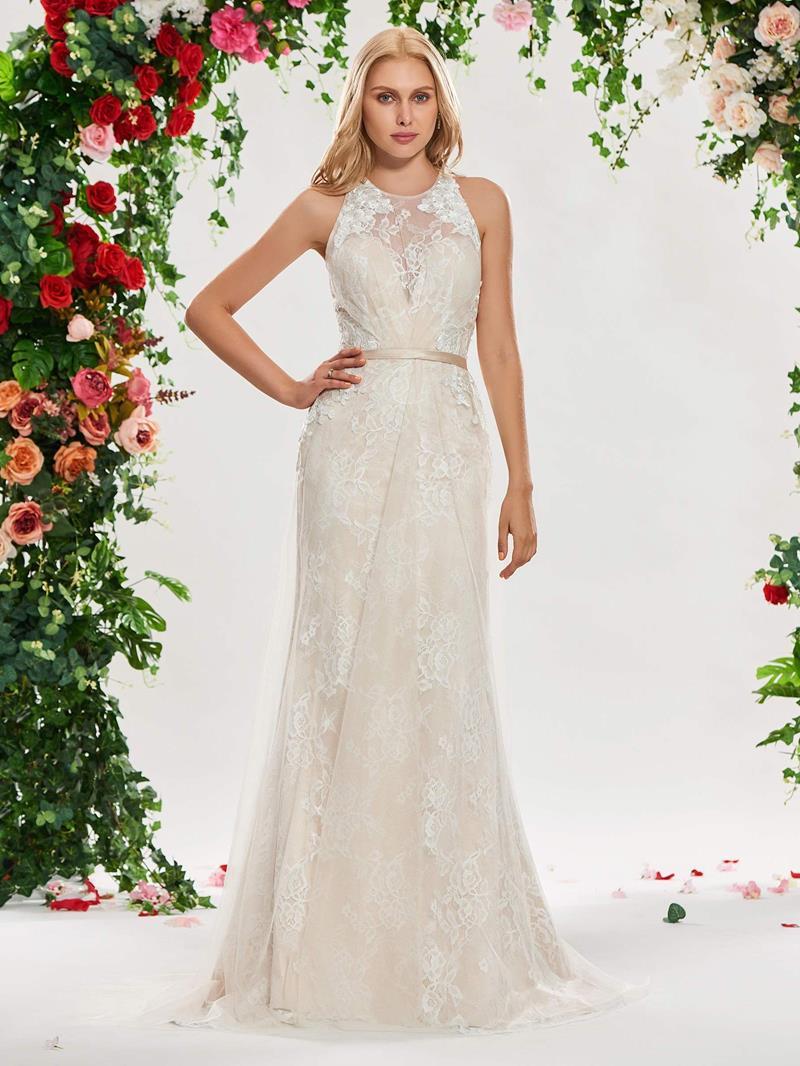 Ericdress Criss-Cross Straps Mermaid Lace Wedding Dress