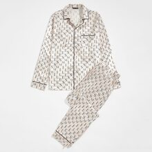 Schlafanzug Set mit Buchstaben Grafik und Kontrast Bindung