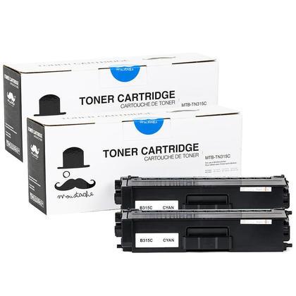 Compatible Brother TN315C cartouche de toner cyan haute capacite - Moustache@ - 2/paquet