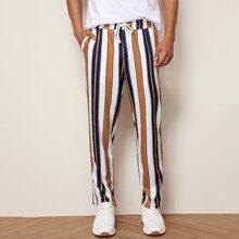 Guys Drawstring Waist Slant Pocket Striped Pants