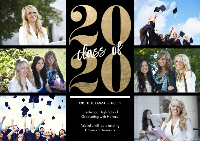 2020 Graduation Announcements 5x7 Cards, Premium Cardstock 120lb with Elegant Corners, Card & Stationery -2020 Classic Year by Tumbalina