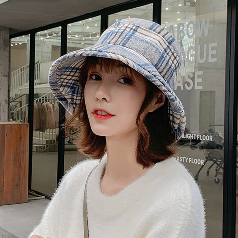 Ericdress Bucket Hat Winter Plaid Hats