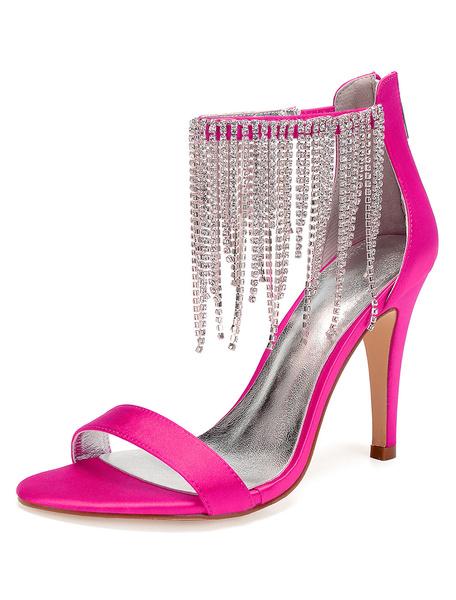 Milanoo White Wedding Shoes Satin Open Toe Rhinestones Ankle Strap High Heel Sandals
