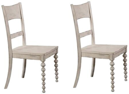 Coyana Collection 66112 Set of 2 Side Chairs with Turned Front Legs  Tapered Back Legs  Slat Back and Wood Veneer Materials in Antique White