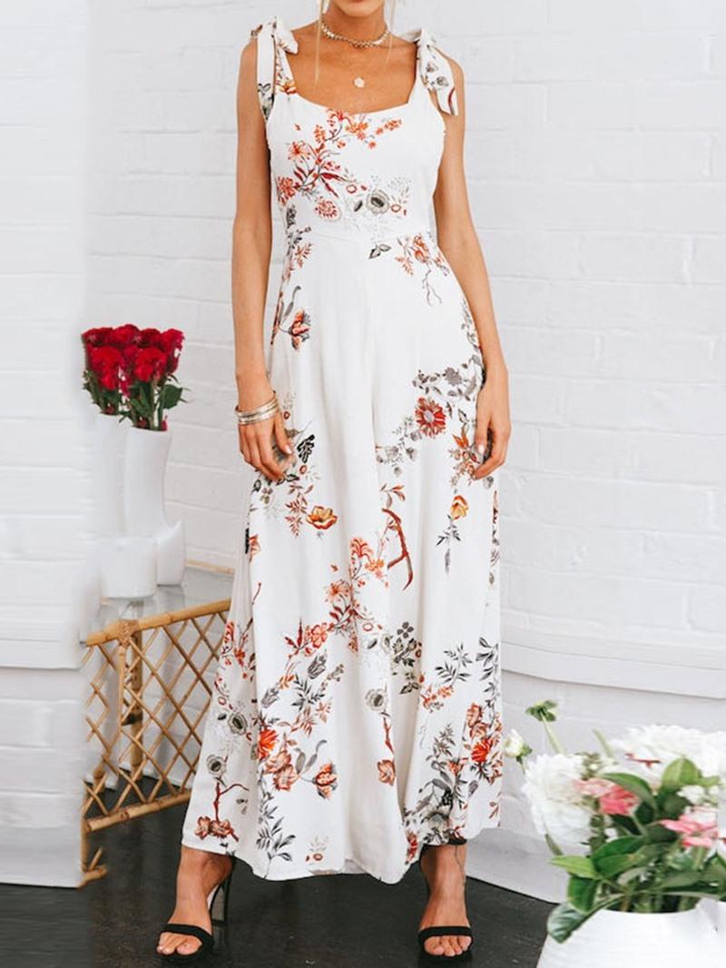 Ericdress Floral Print Strap Wide Legs Slim Jumpsuit