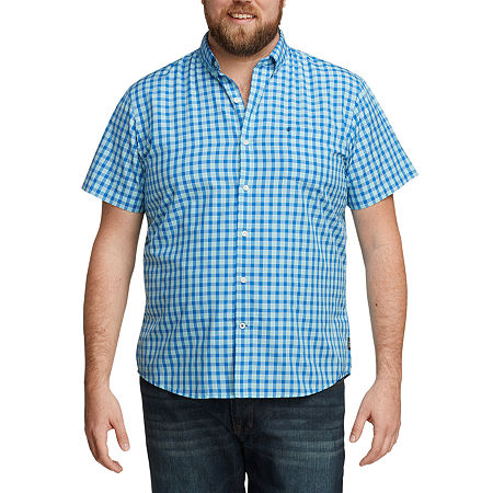 IZOD Big and Tall Advantage Performance Wovens Mens Short Sleeve Cooling Plaid Button-Down Shirt, 2x-large , Blue