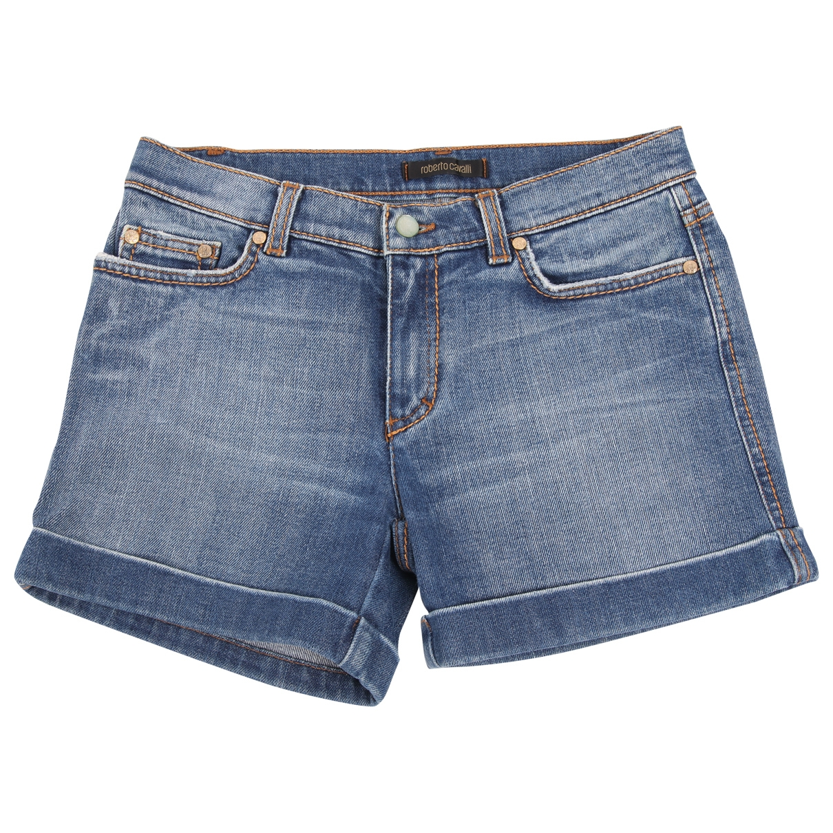 Roberto Cavalli \N Blue Cotton Shorts for Women 40 FR
