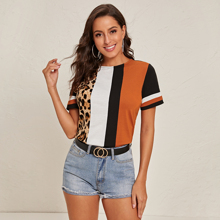 Colorblock Leopard Panel Short Sleeve Top