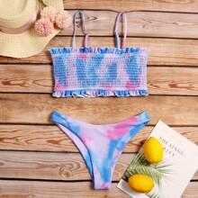 Tie Dye Smocked Frill Trim Bikini Swimsuit