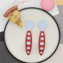 1 pieza cuchara de bebe de dos colores con 1 pieza tenedor