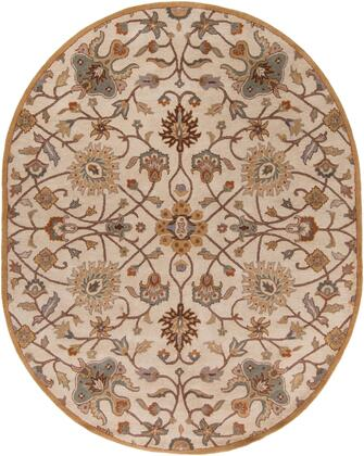 Caesar CAE-1081 8' x 10' Oval Traditional Rug in Khaki  Medium Grey  Camel  Dark Brown  Tan