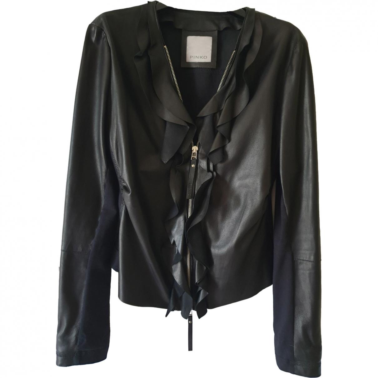 Pinko \N Black Leather jacket for Women 46 IT