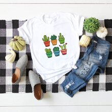 T-Shirt mit Kaktus Muster und rundem Kragen