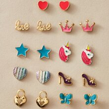 9pairs Toddler Girls Heart & Star Shaped Earrings Set