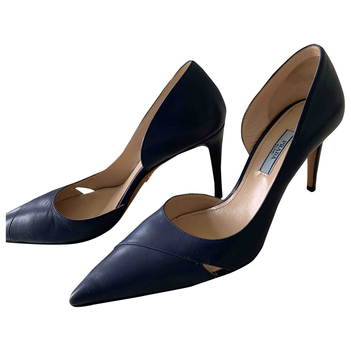 Prada \N Navy Leather Heels for Women 38.5 EU