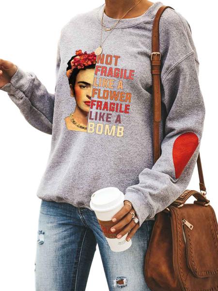 Milanoo Hoodie For Women Grey Long Sleeves Letter Printed Polyester Hooded Sweatshirt