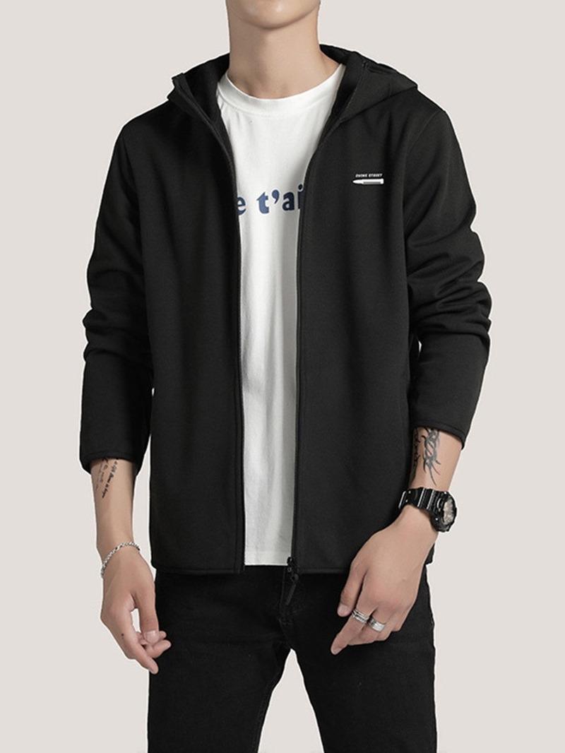 Ericdress Zipper Color Block Hooded Spring Mens Jacket