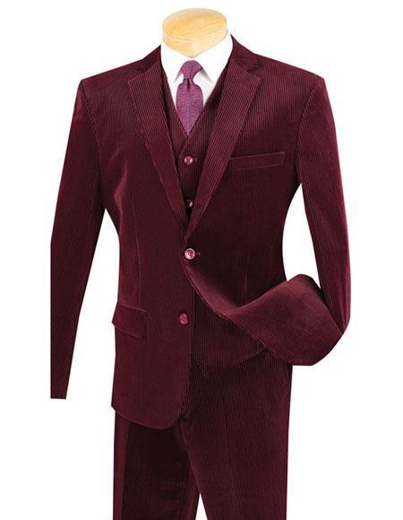 Mens 2Buttons Burgundy Pinstripe Corduroy 2piece VestedSuit Flat Pants