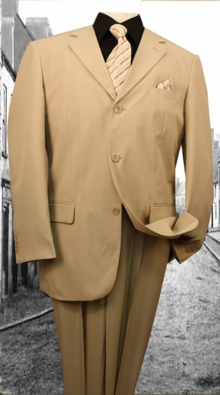 3Button Suit Beige/Khaki/Tan with Open Inseam with 2 Pleated Pants