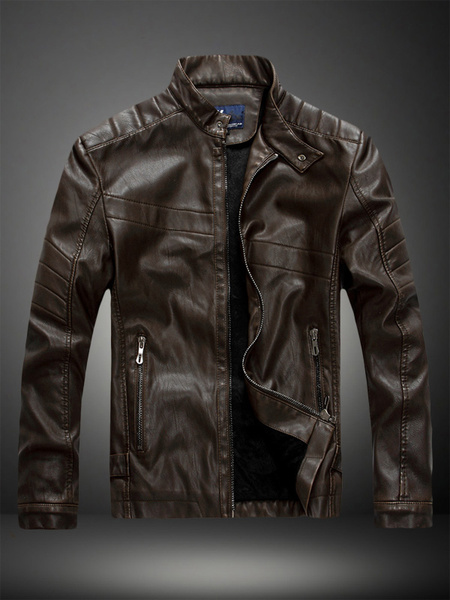 Milanoo Brown Leather Jacket Men Jacket Stand Collar Long Sleeve Zip Up Motorcycle Jacket