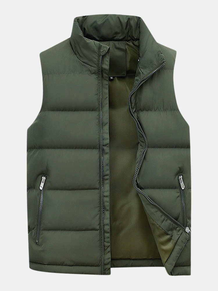 Men's Brief Thicken Warm Safe Zipper Pockets Stand Collar Solid Color Casual Down Vest